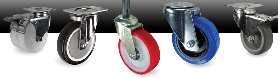 Pressed steel castors and castor wheels